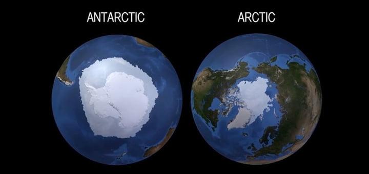 ما الفرق بين القطب الشمالي والقطب الجنوبي